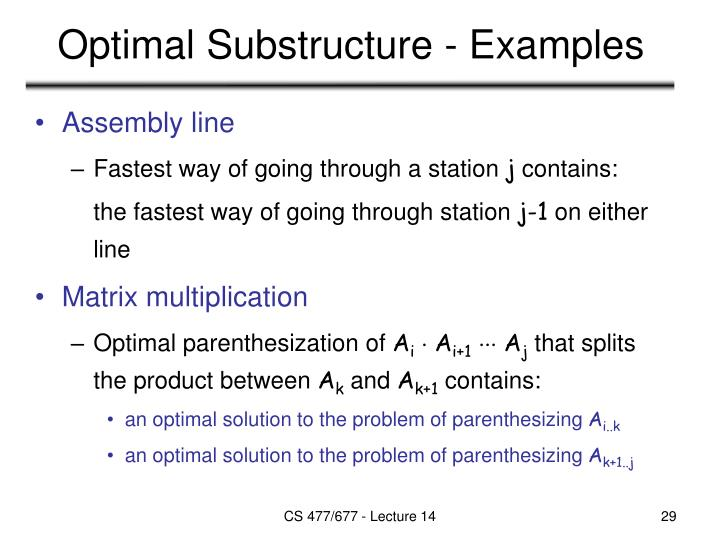 Optimal Substructure - Examples
