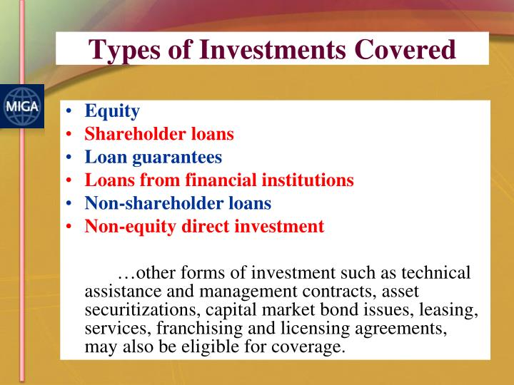 Types of Investments Covered
