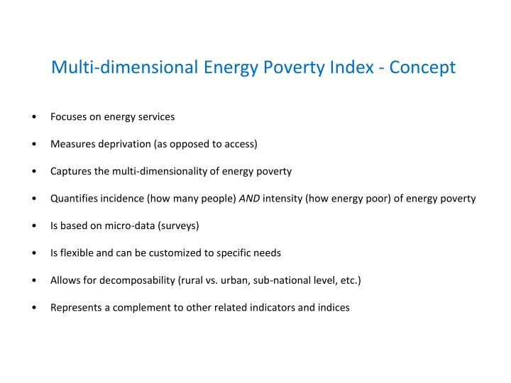 Multi dimensional energy poverty index concept
