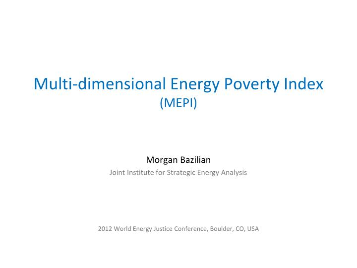 Multi dimensional energy poverty index mepi