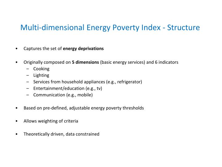 Multi dimensional energy poverty index structure