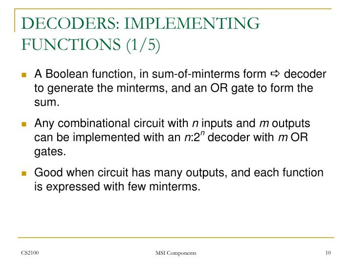 DECODERS: IMPLEMENTING FUNCTIONS (1/5)
