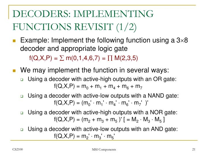 DECODERS: IMPLEMENTING FUNCTIONS REVISIT (1/2