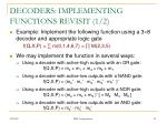 decoders implementing functions revisit 1 2