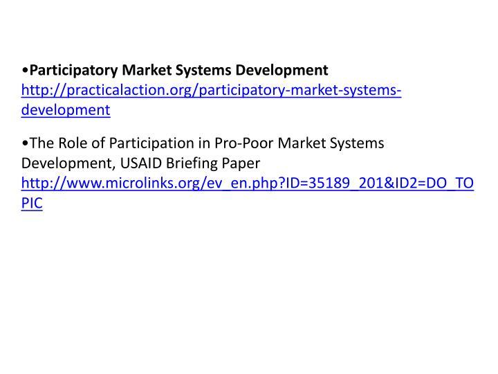 Participatory Market Systems Development