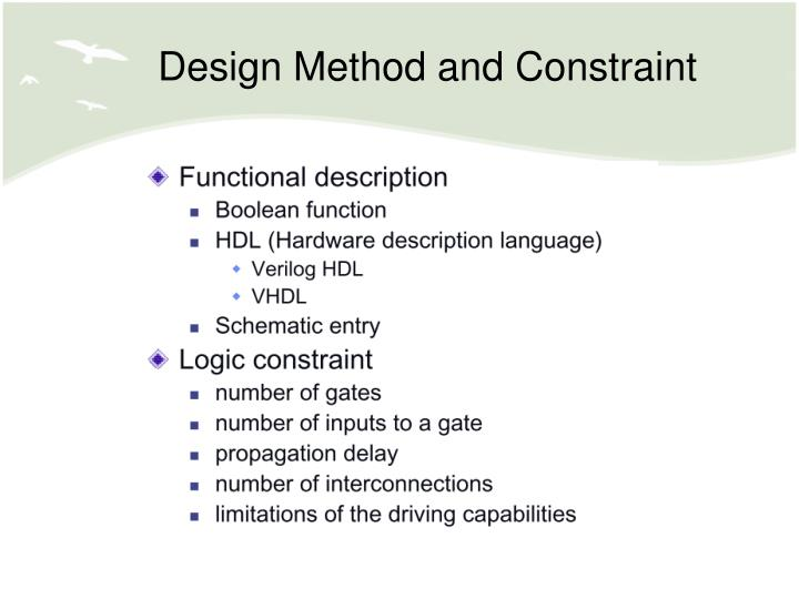 Design Method and Constraint
