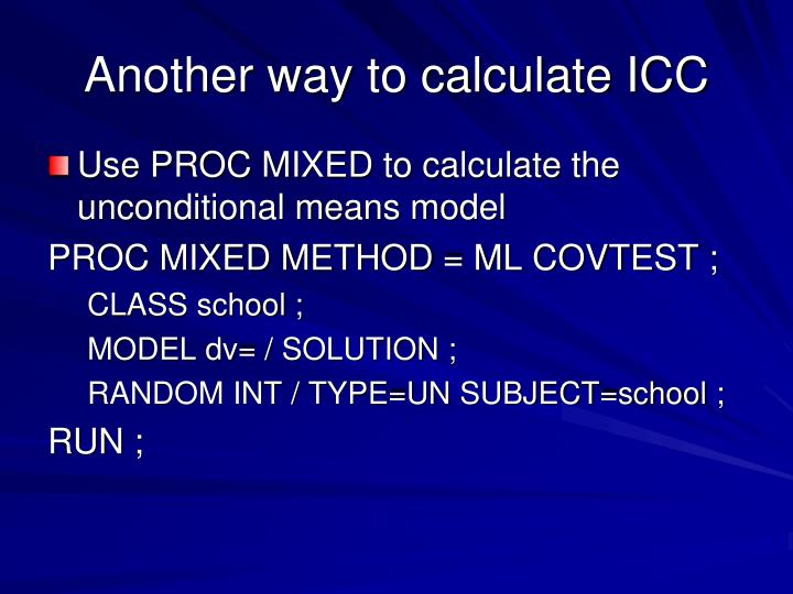 Another way to calculate ICC