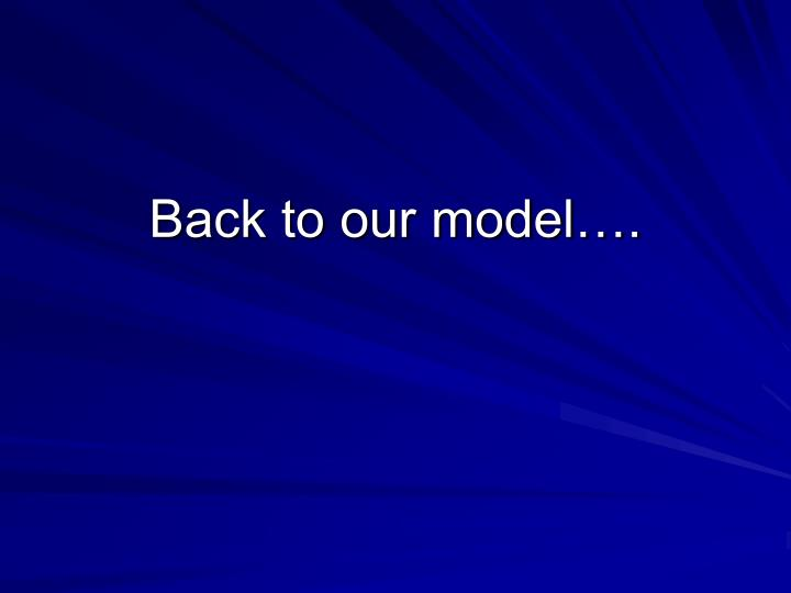 Back to our model….