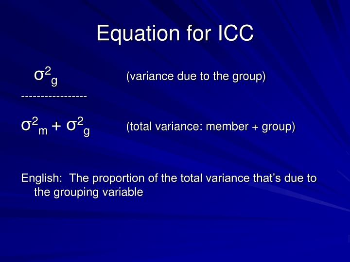 Equation for ICC