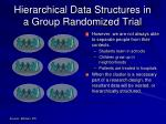 hierarchical data structures in a group randomized trial1