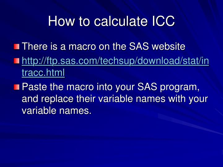 How to calculate ICC
