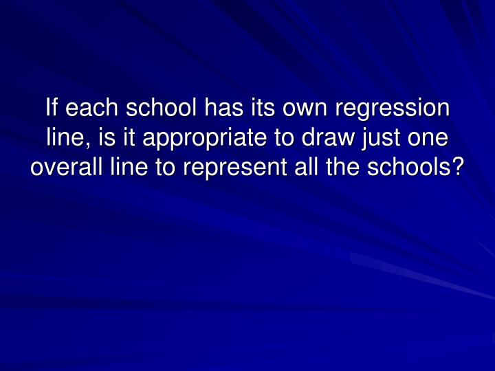 If each school has its own regression line, is it appropriate to draw just one overall line to represent all the schools?