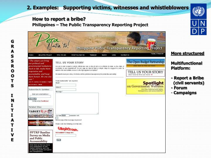 2. Examples:   Supporting victims, witnesses and whistleblowers