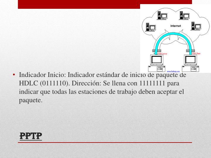 Indicador Inicio: Indicador estándar de inicio de paquete de HDLC (0111110). Dirección: Se llena con 11111111 para indicar que todas las estaciones de trabajo deben aceptar el paquete.