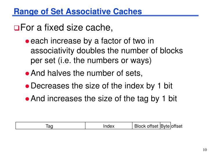 Range of Set Associative Caches