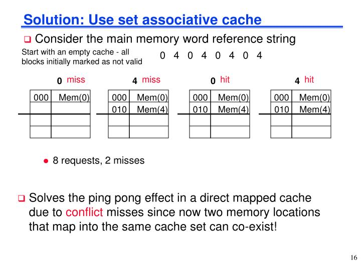 Solution: Use set associative cache