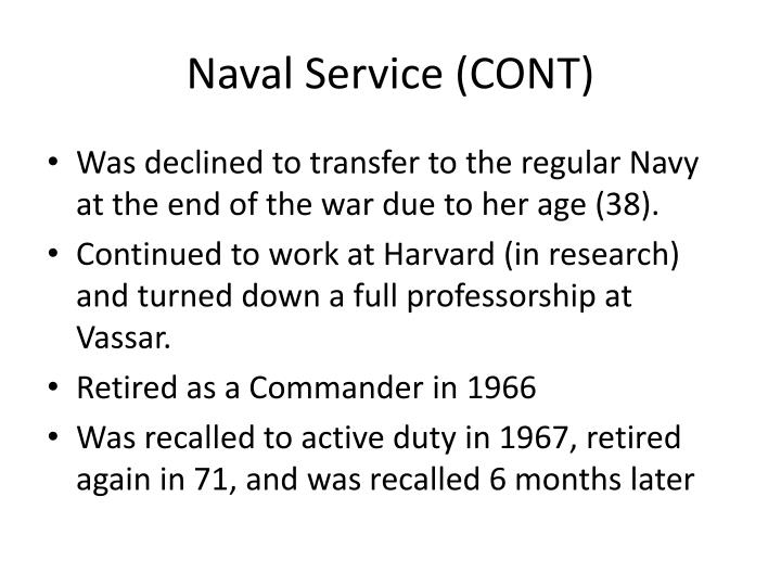 Naval Service (CONT)