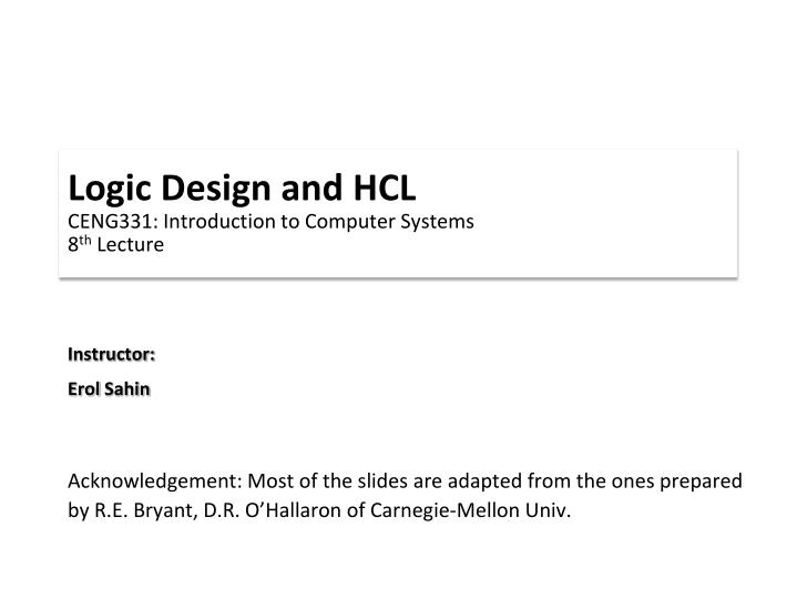 Logic Design and HCL