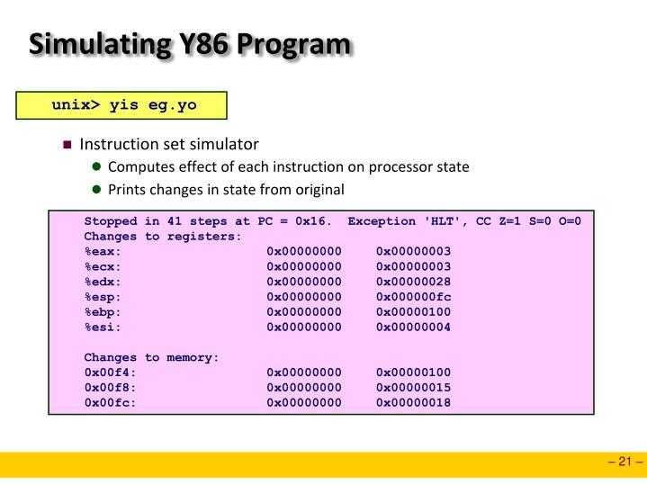 Simulating Y86 Program