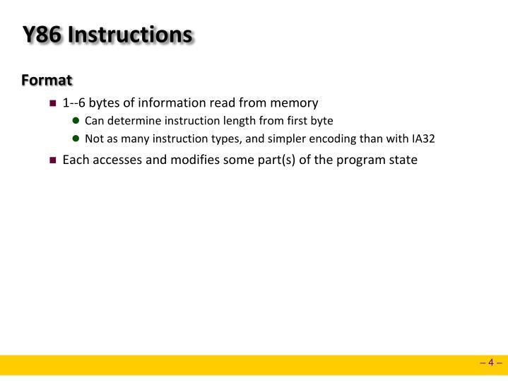 Y86 Instructions