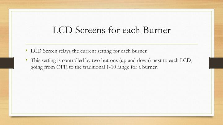 LCD Screens for each Burner