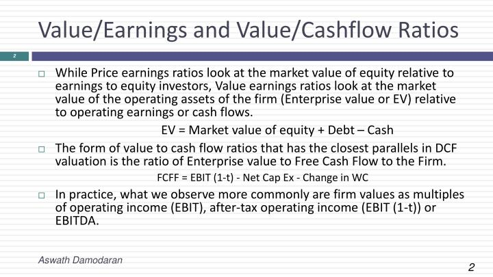 Value earnings and value cashflow ratios