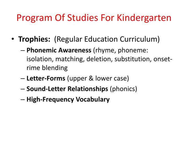 Program Of Studies For Kindergarten