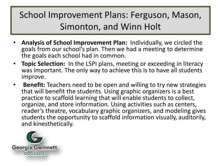School improvement plans ferguson mason simonton and winn holt