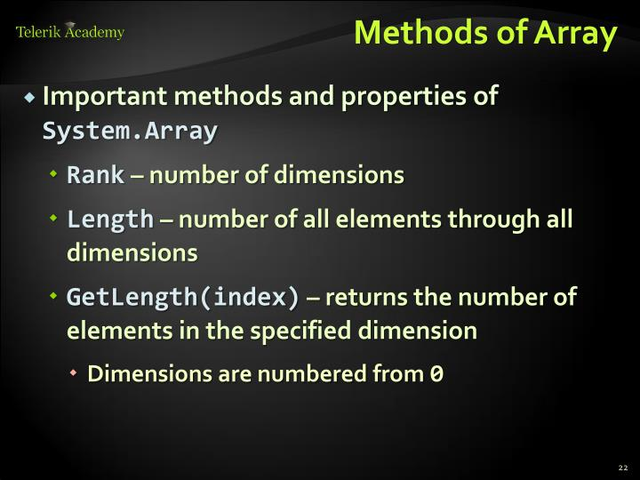 Methods of Array