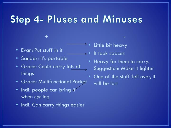 Step 4- Pluses and Minuses