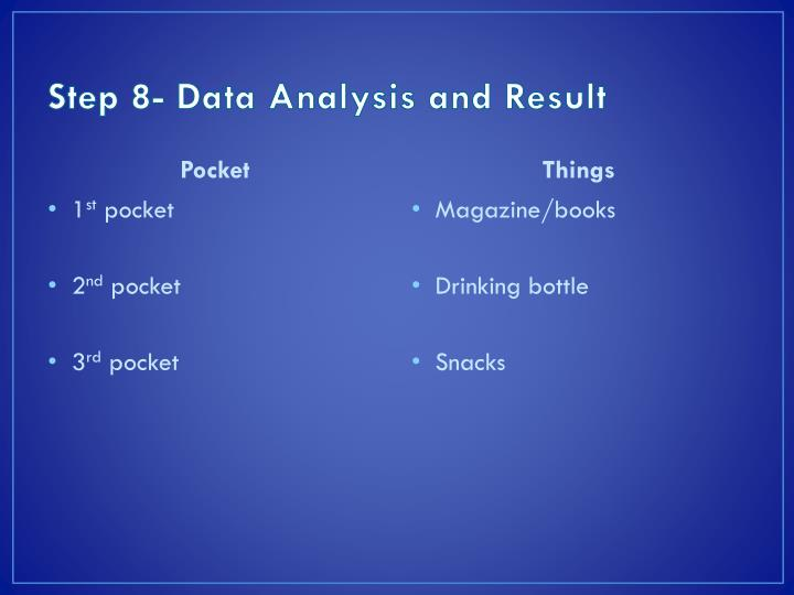 Step 8- Data Analysis and Result