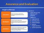 assurance and evaluation