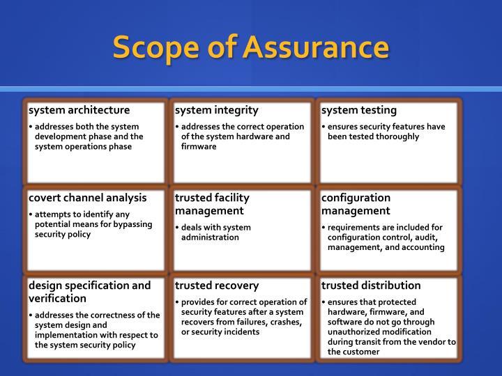 Scope of Assurance