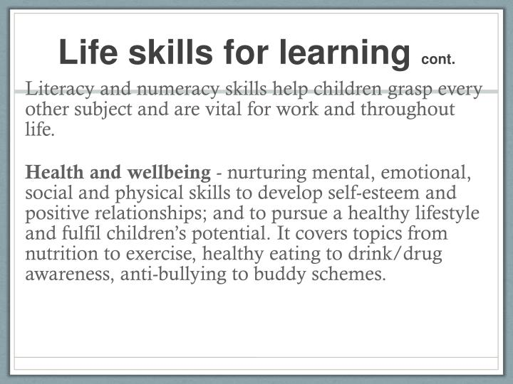Life skills for learning