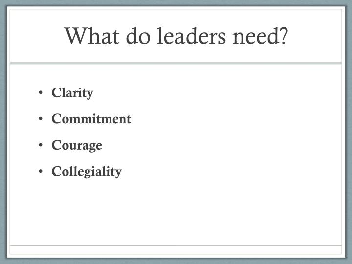 What do leaders need?