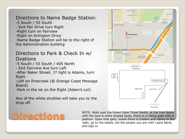 Directions to Name Badge Station: