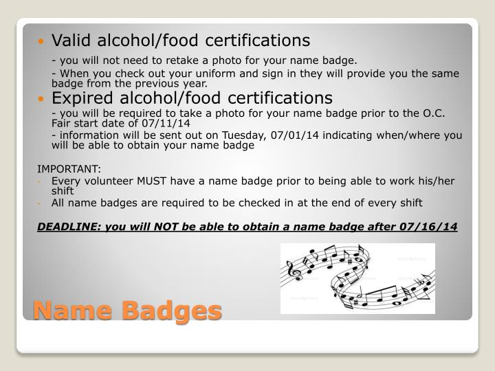 Valid alcohol/food certifications