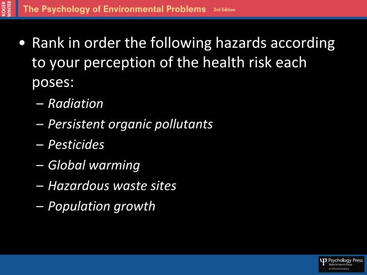 Rank in order the following hazards according to your perception of the health risk each poses: