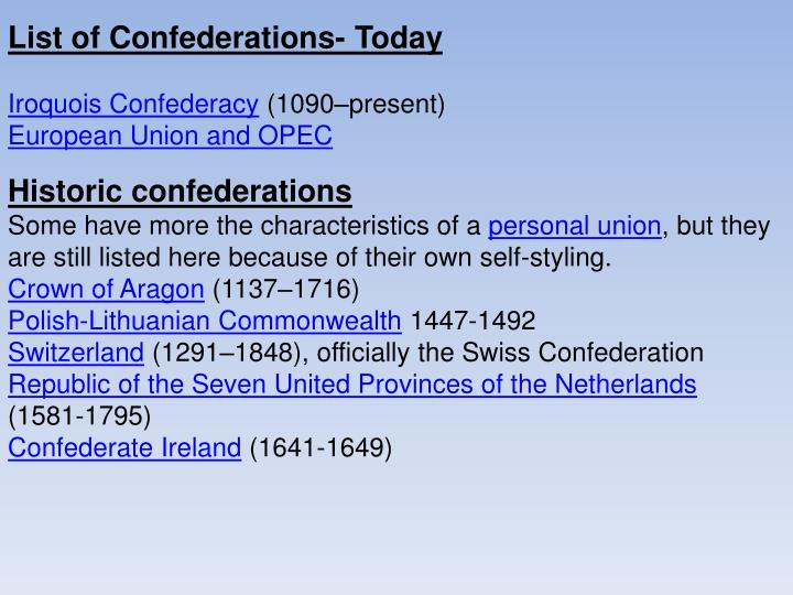 List of Confederations- Today