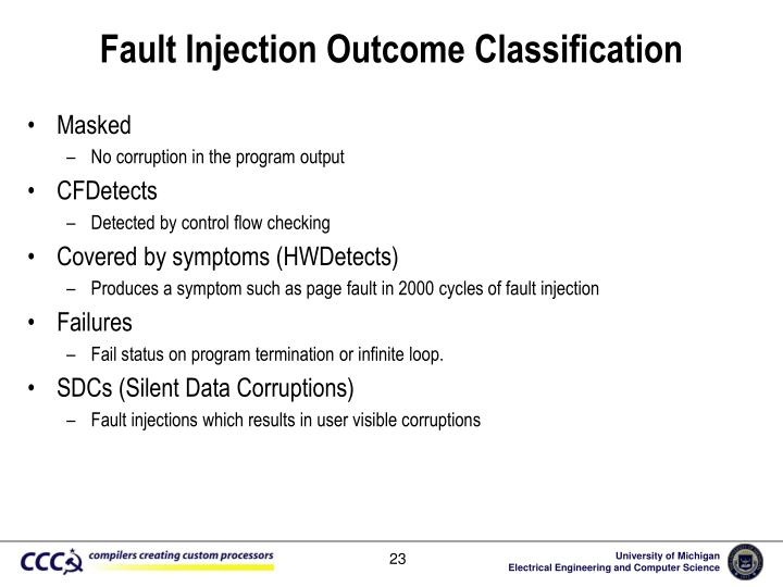 Fault Injection Outcome Classification