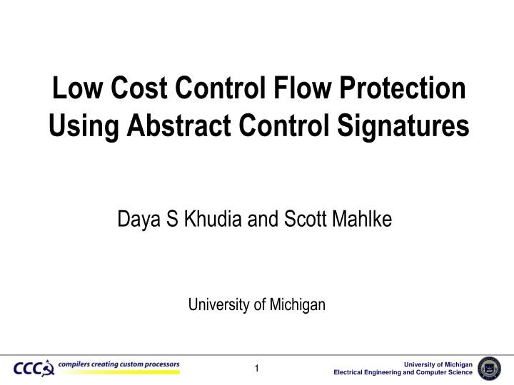 low cost control flow protection using abstract control signatures