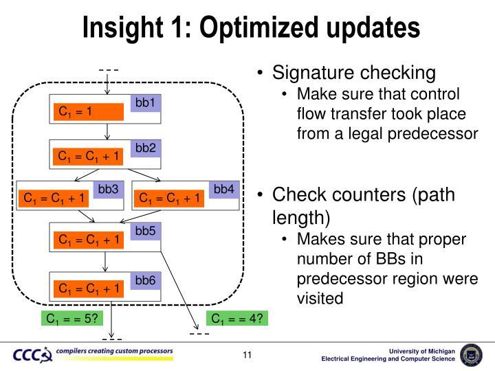 Insight 1: Optimized updates