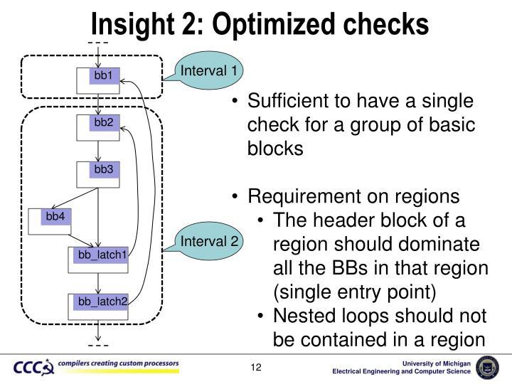 Insight 2: Optimized checks