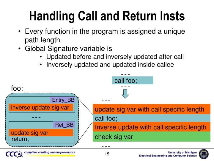 Handling Call and Return
