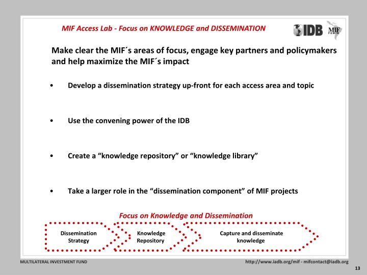MIF Access Lab - Focus on KNOWLEDGE and DISSEMINATION