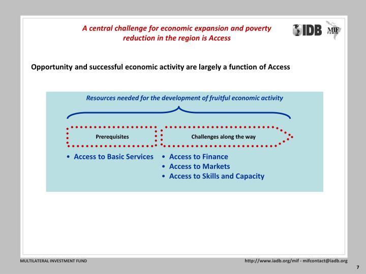 A central challenge for economic expansion and poverty reduction in the region is Access