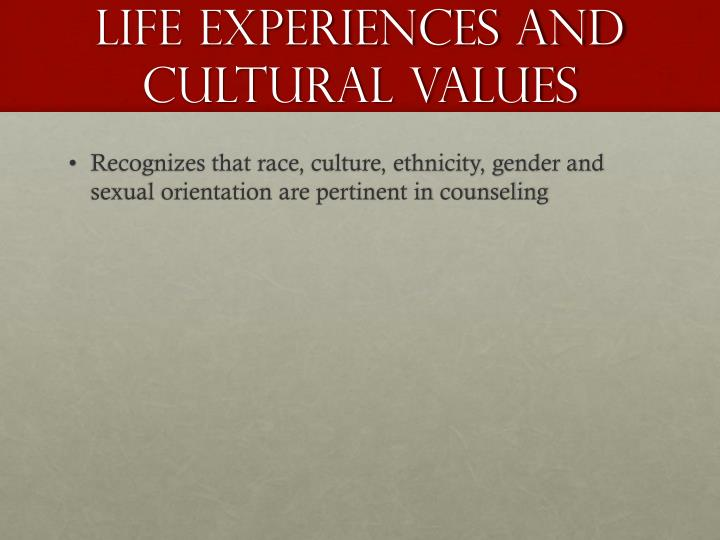 Life Experiences and Cultural Values