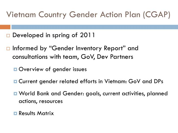 Vietnam Country Gender Action Plan (CGAP)