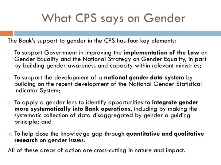 What CPS says on Gender