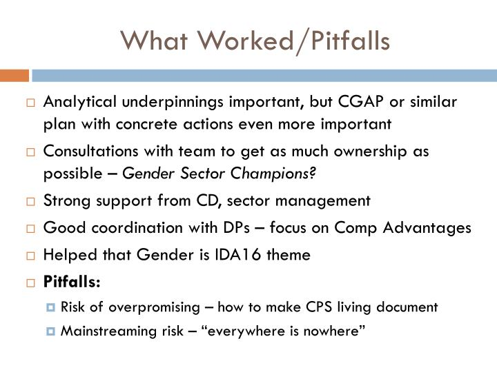 What Worked/Pitfalls